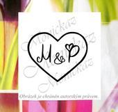 Svatební s iniciály. Omyvatelné razítko.,