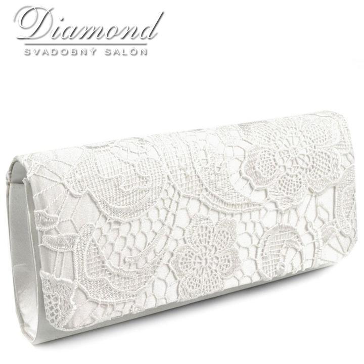 e62e6d7fe13b Svadobné kabelky - Kabelka LACE v diamond white farbe -
