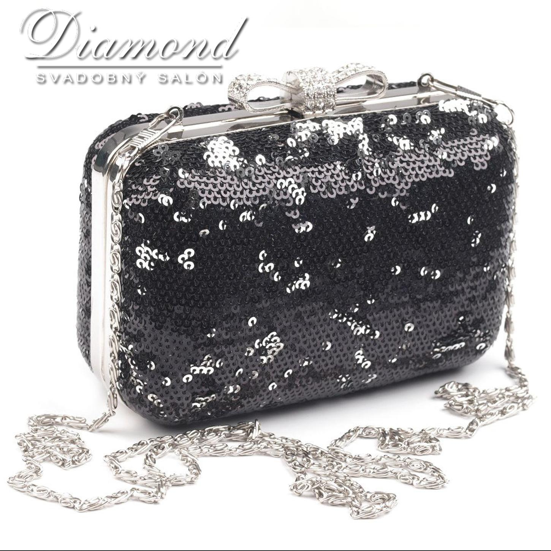 Flitrová čierna kabelka - Obrázok č. 1