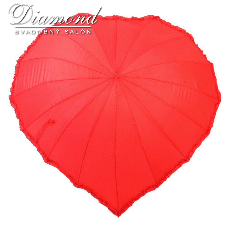 Romantický dáždnik v tvare srdca - červený - Obrázok č. 1