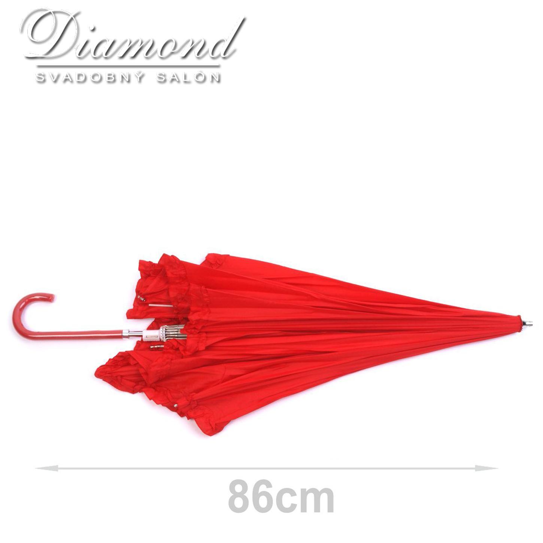 Romantický dáždnik v tvare srdca - červený - Obrázok č. 2
