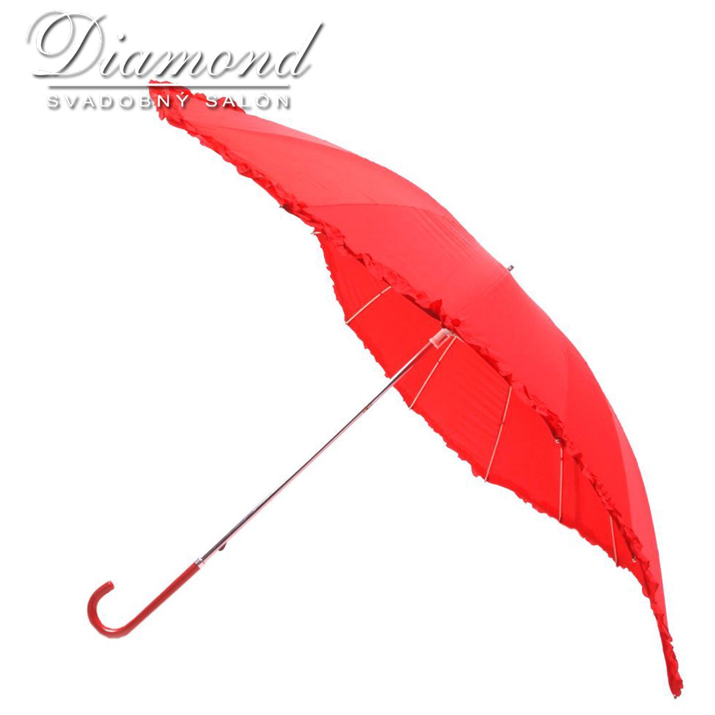 Romantický dáždnik v tvare srdca - červený - Obrázok č. 3