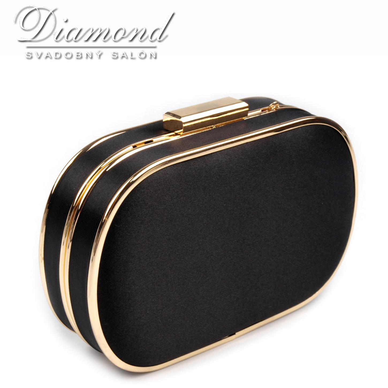 Čierno-zlatá saténová kabelka - Obrázok č. 1