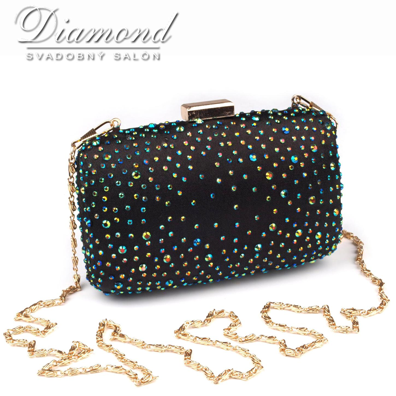 Čierna saténová kabelka s farebnými hot fixami - Obrázok č. 4