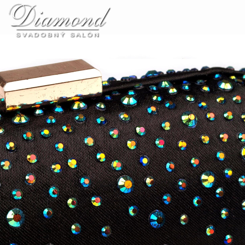 Čierna saténová kabelka s farebnými hot fixami - Obrázok č. 2