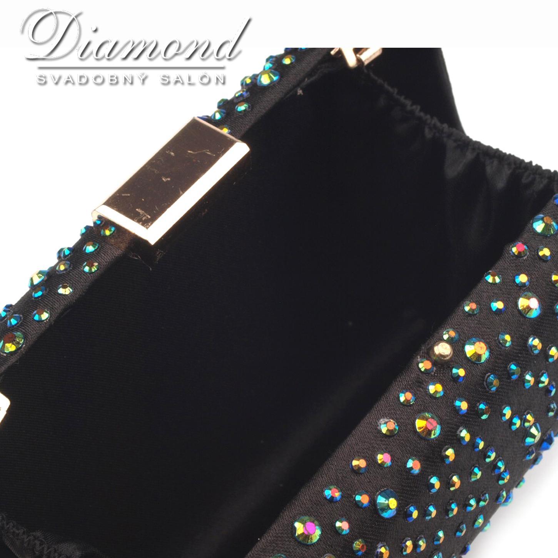 Čierna saténová kabelka s farebnými hot fixami - Obrázok č. 3