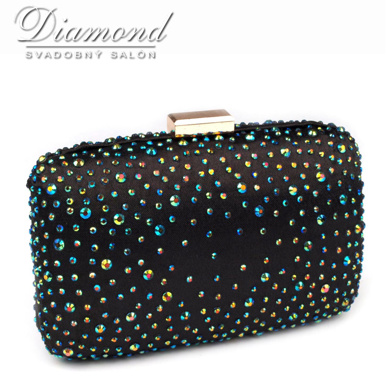 Čierna saténová kabelka s farebnými hot fixami - Obrázok č. 1