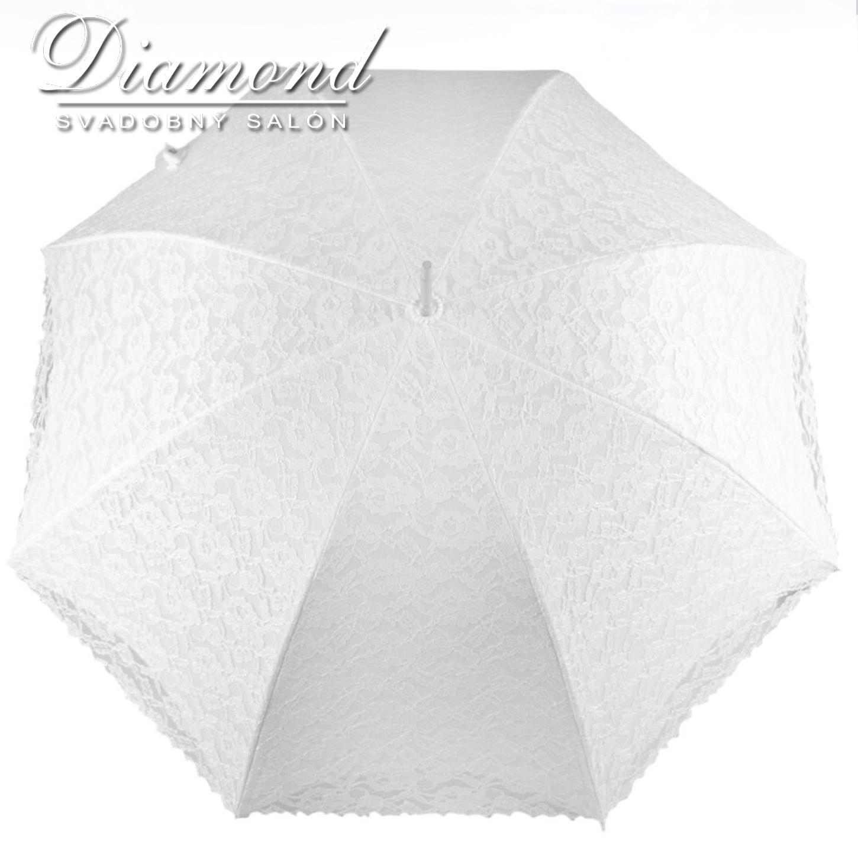 Čipkovaný dáždnik biely a krémový - Obrázok č. 1