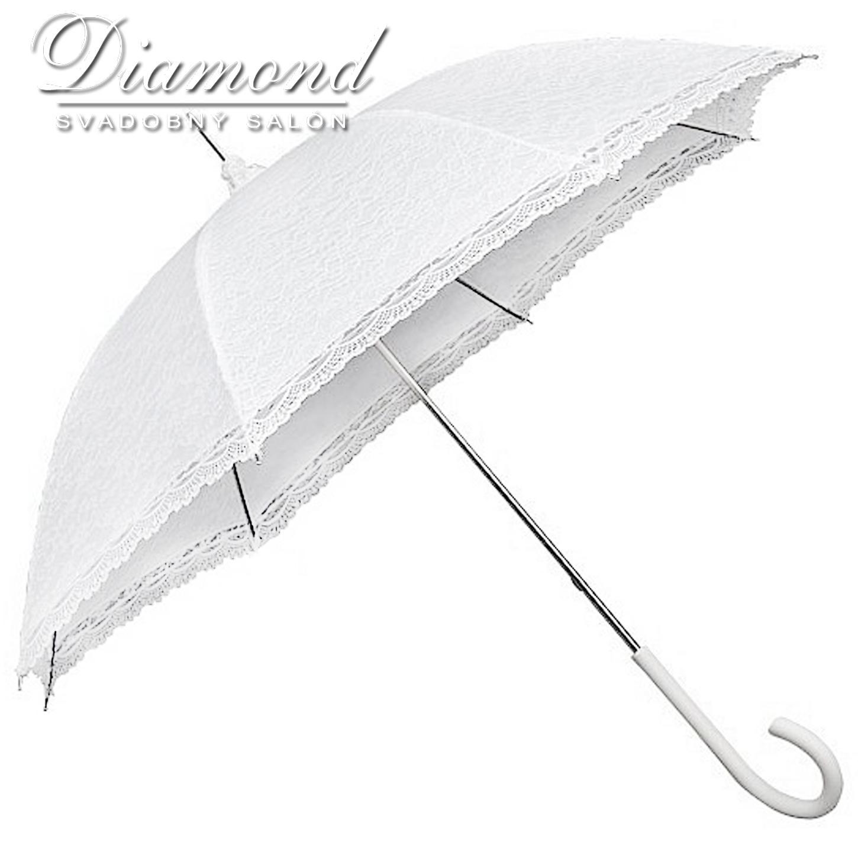 Čipkovaný dáždnik biely a krémový - Obrázok č. 2