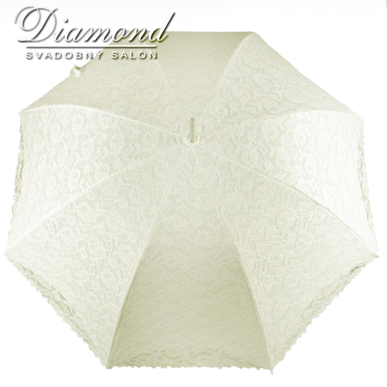 Čipkovaný dáždnik biely a krémový - Obrázok č. 3
