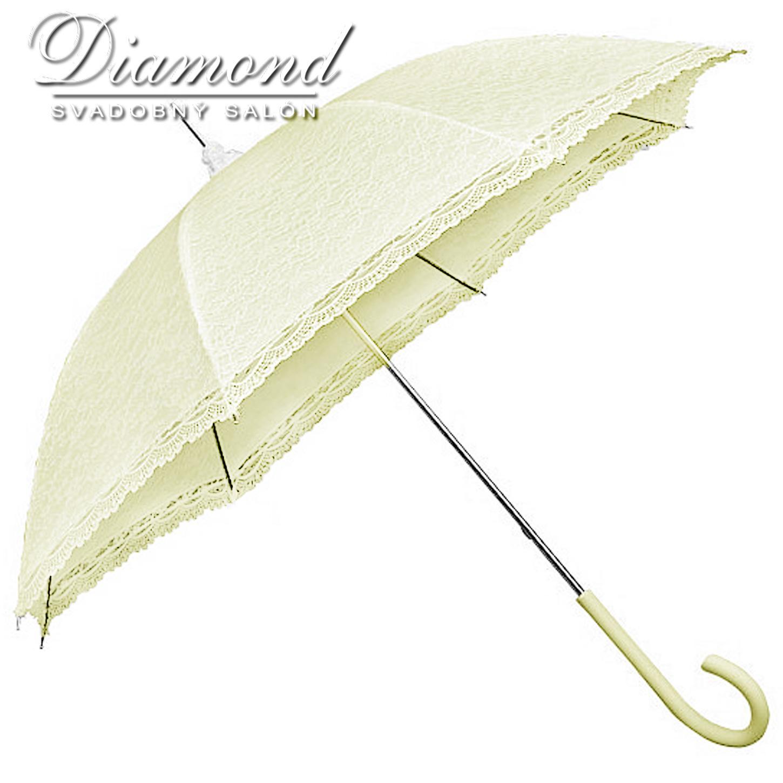 Čipkovaný dáždnik biely a krémový - Obrázok č. 4