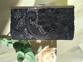 Listová čierna čipková kabelka,
