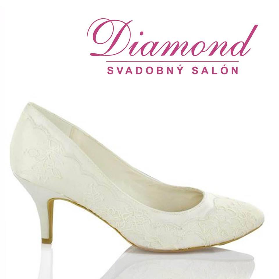 Krémové čipkované svadobné topánky  - Obrázok č. 1