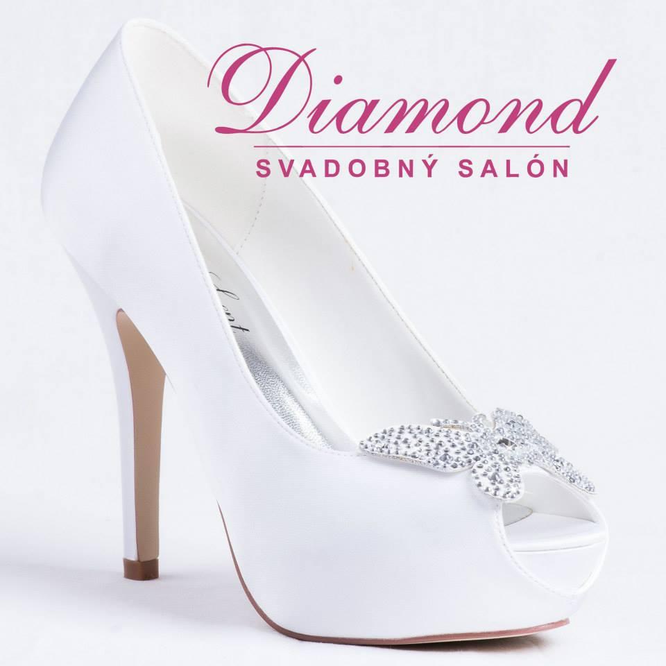 Biele svadobné topánky s otvorenou špičkou - Obrázok č. 1