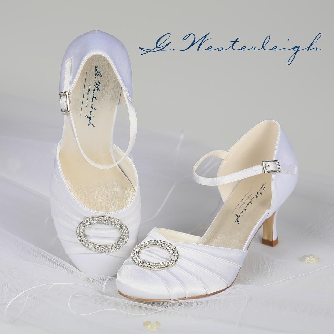 Biele svadobné topánky s remienkom - 35  - Obrázok č. 1