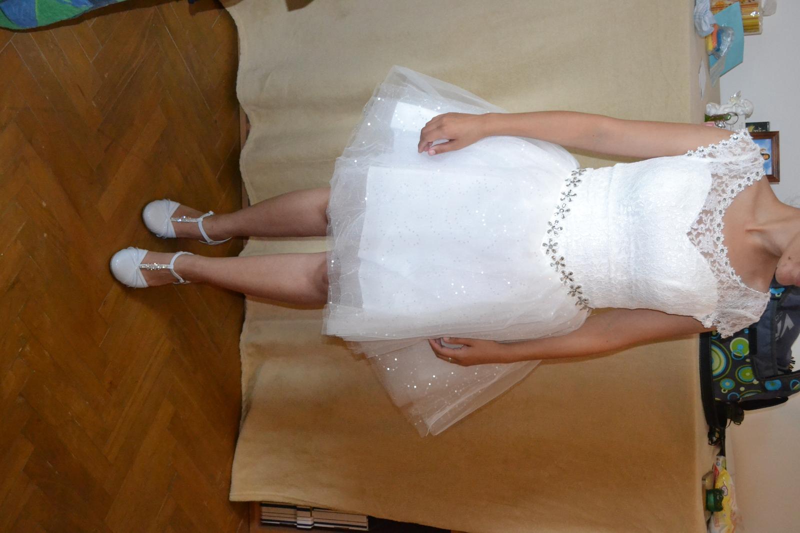 nepoužité čipkované  krátke šaty- cena s poštou - Obrázok č. 3
