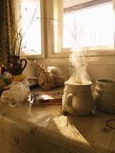 ranní čaj a při pohledu z okna zima zima zima