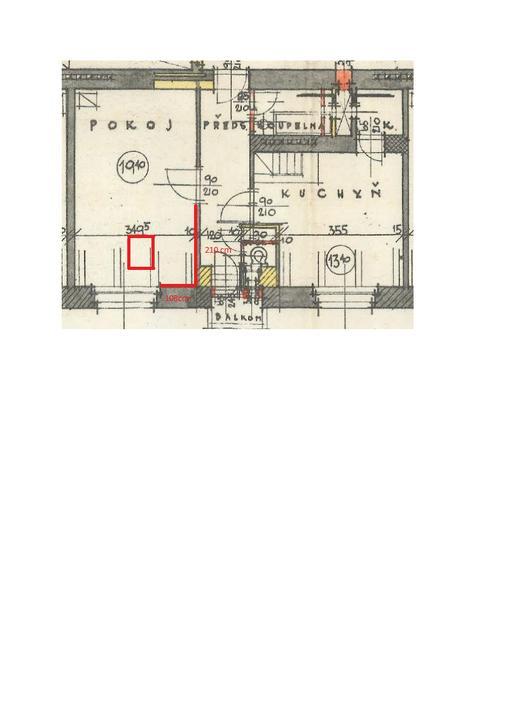 Kuchyň byla původně v chodbě, přemístili jsme ji do červeně vyznačené části