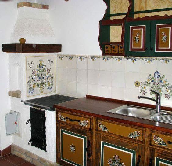 Na chatě u Pejru - kdybych uměla malovat, takhle bych opravila tu naši starou kuchyňku na chatě