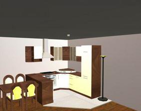 kuchyna - biela leskla / tmavy dub