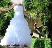 Svatební šaty, možno použít i s bříškem, 38