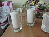 Skleničky  a dózy na svíčky + svíčky,