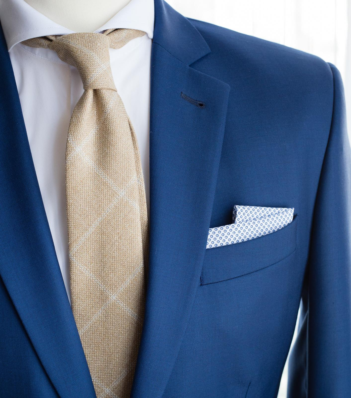 bubibubi_ties - Světle-béžová kravata windowpane