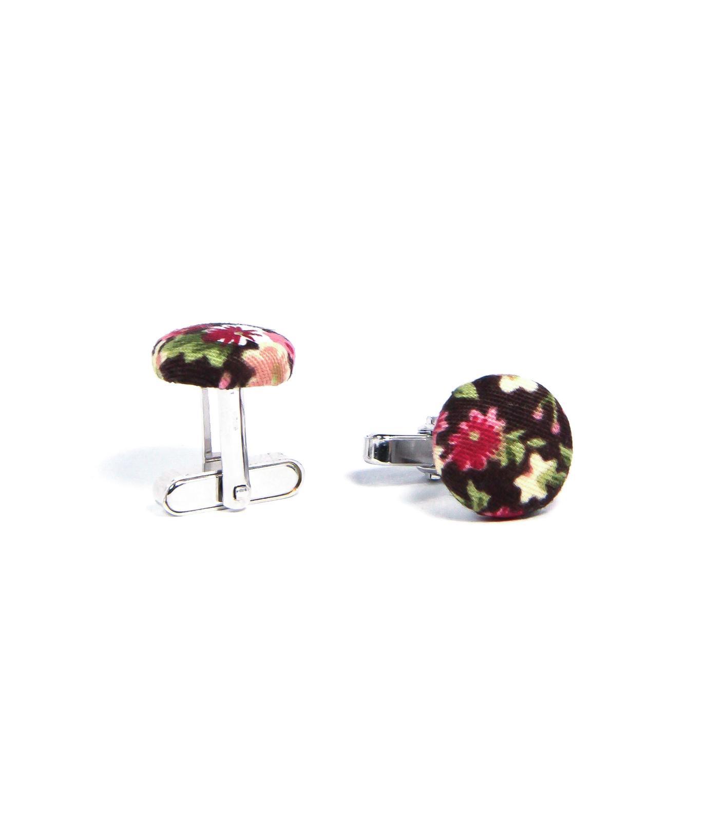 bubibubi_ties - Hnědé manžetové knoflíčky s květy.