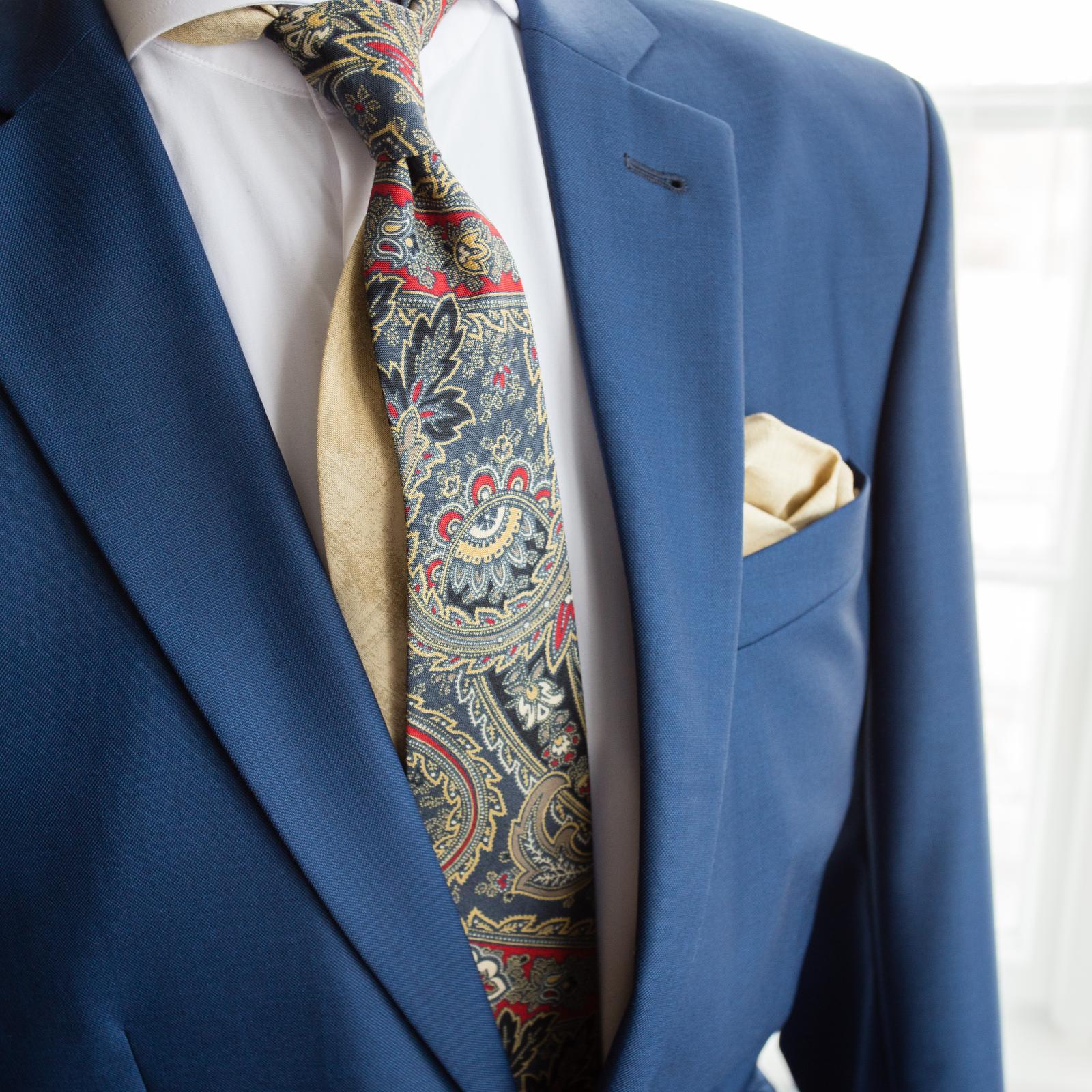 bubibubi_ties - Modrá kravata s paisley vzorem.