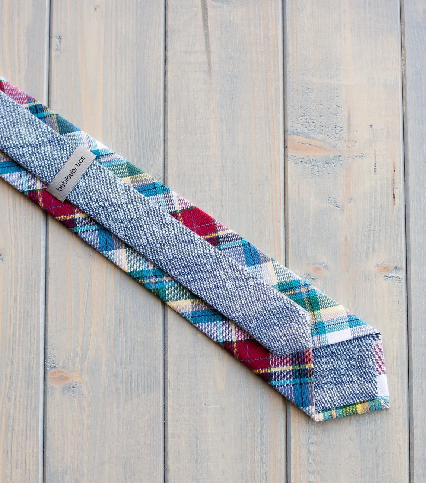 bubibubi_ties - Károvaná kravata modro-červeno-zelená.