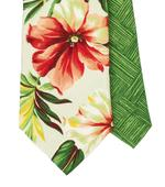 Béžová kravata s ibišky,