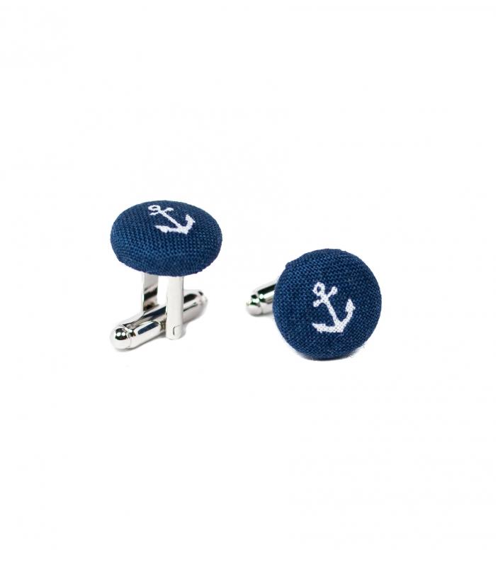 Manžetové knoflíčky modré s kotvou - Obrázek č. 1