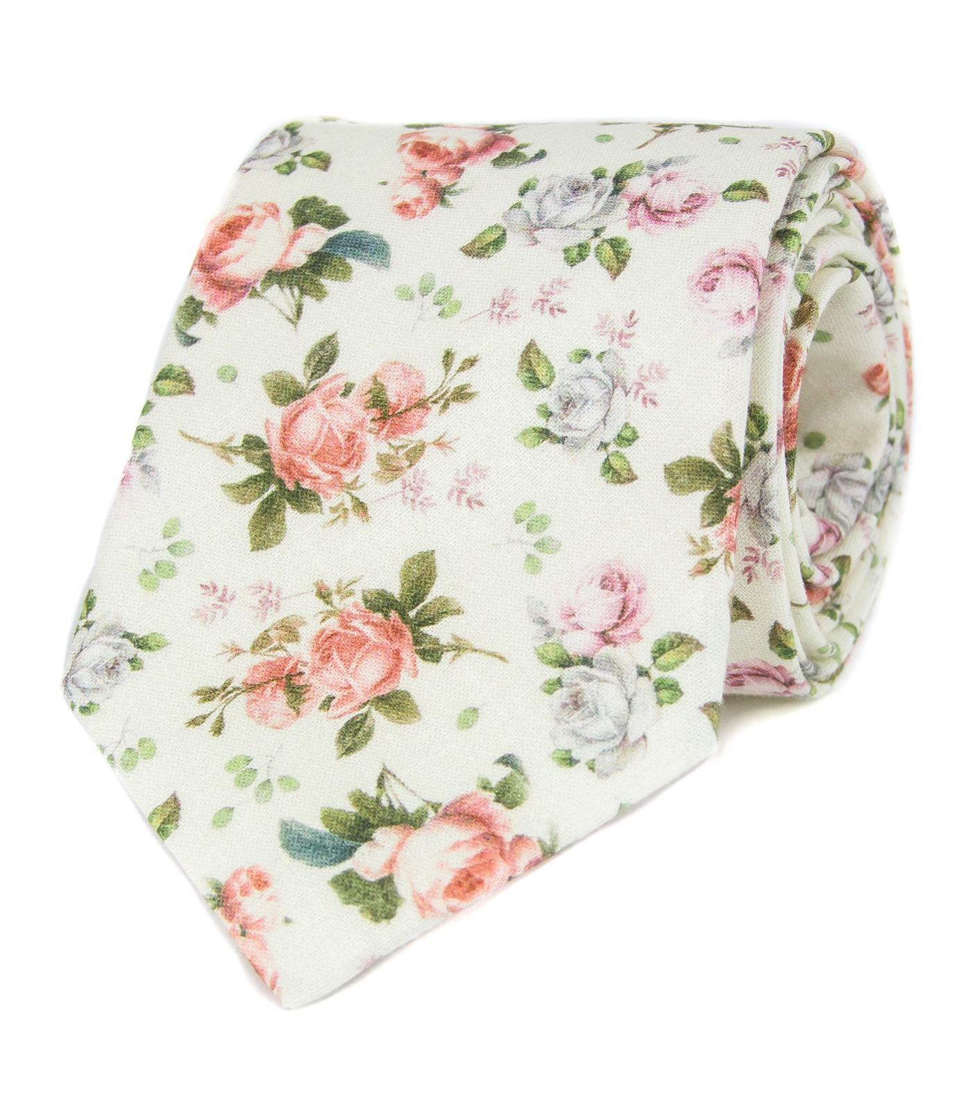 Krémová kravata s růžemi - Obrázok č. 1