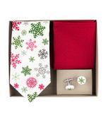 Vánoční kravata, kapesník a manžetové knoflíčky,
