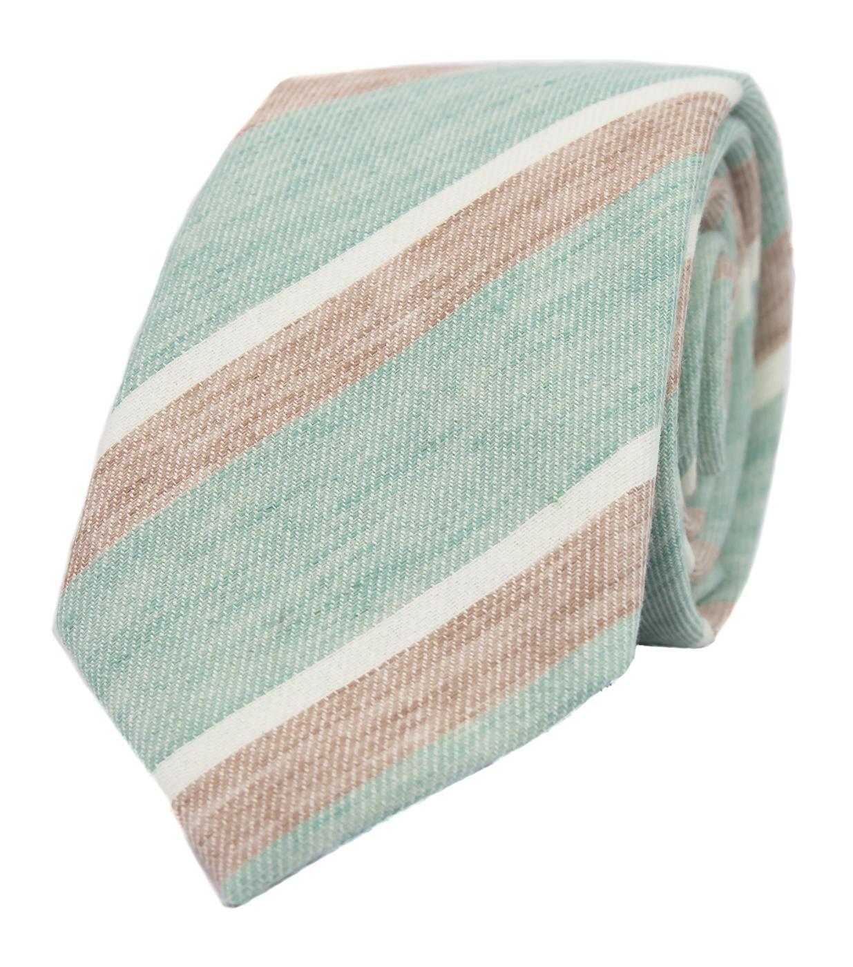 Nové svatební kravaty a motýlky - Mint kravata s proužky