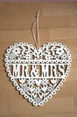 svadobná dekorácia   drevené srdce,