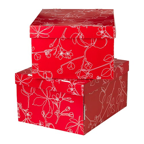 Inspirace pro obývák - červené krabice, moc pěkné