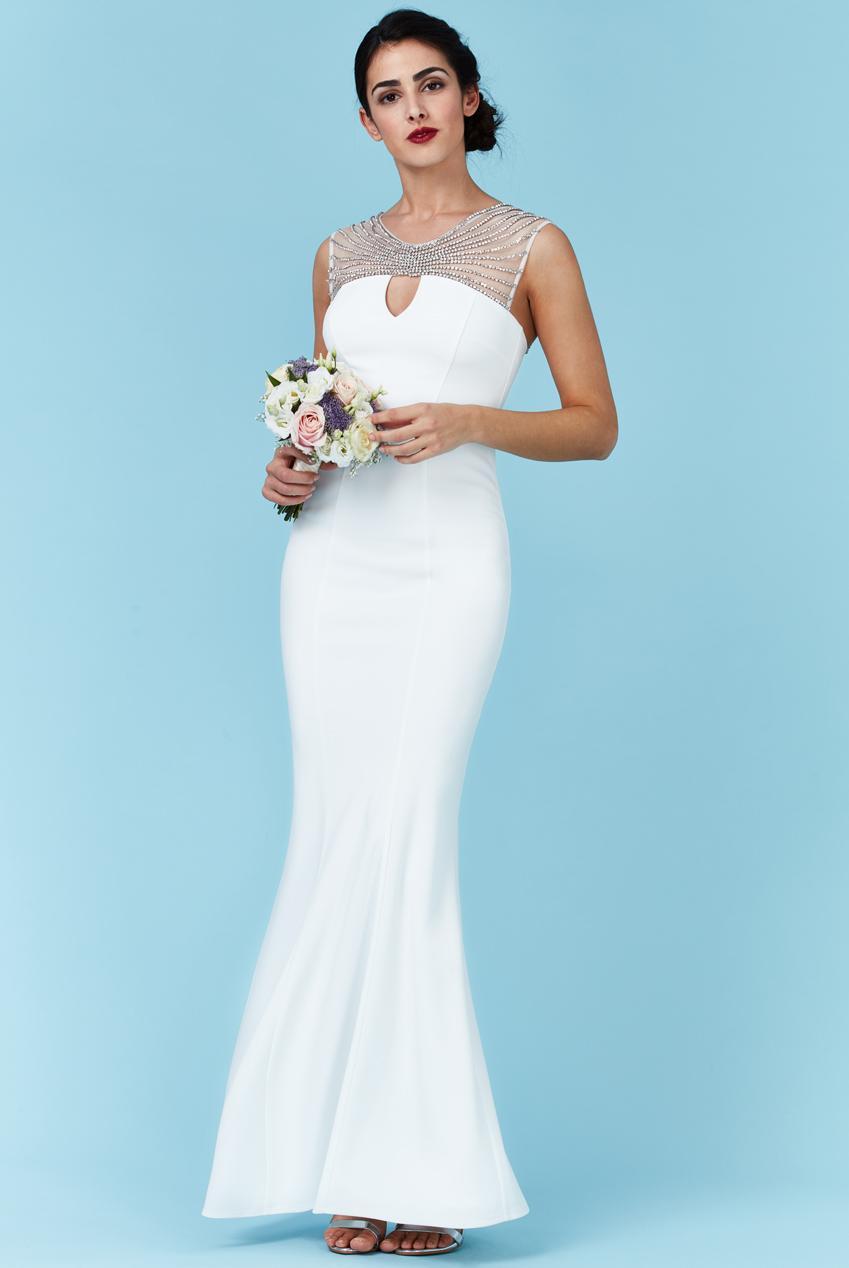 Jednoduché dlhé svadobné / spoločenské šaty biele  - Obrázok č. 1