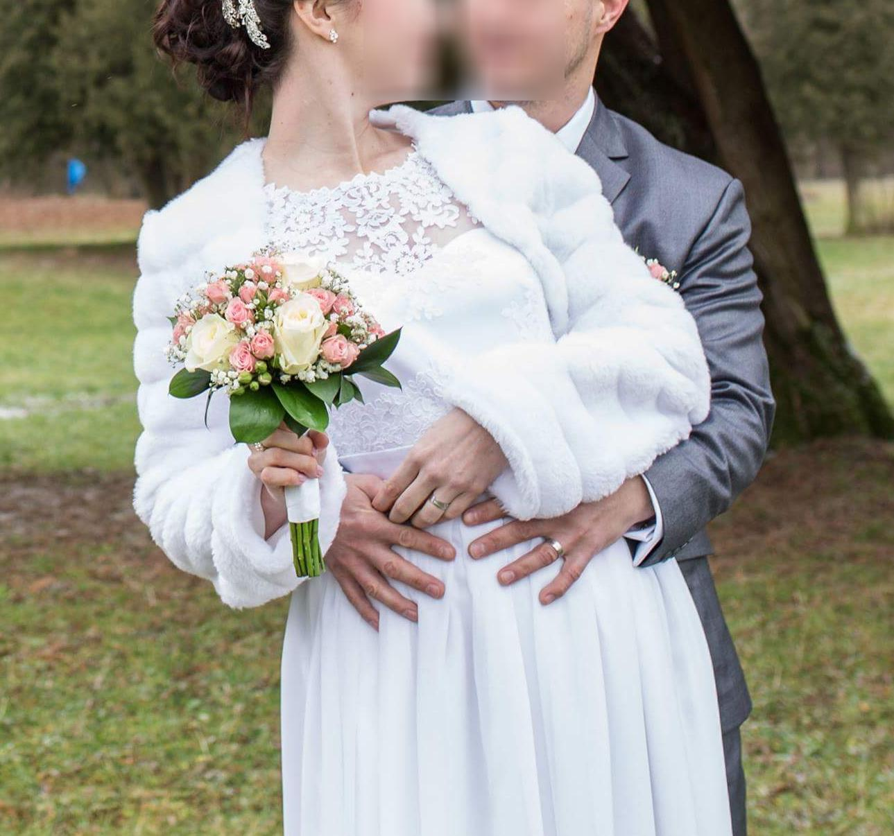 Tehotenské svadobné šaty veľkosť L / 40 - Obrázok č. 1