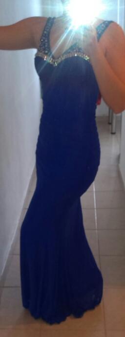 Spoločenské modré šaty dlhé veľkosť L / 40 - Obrázok č. 1