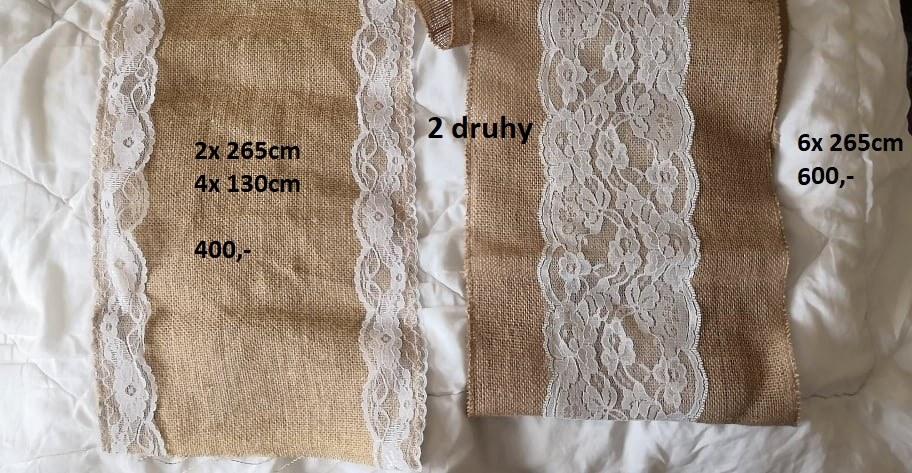 Jutové běhouny - ubrusy s krajkou - Obrázek č. 1
