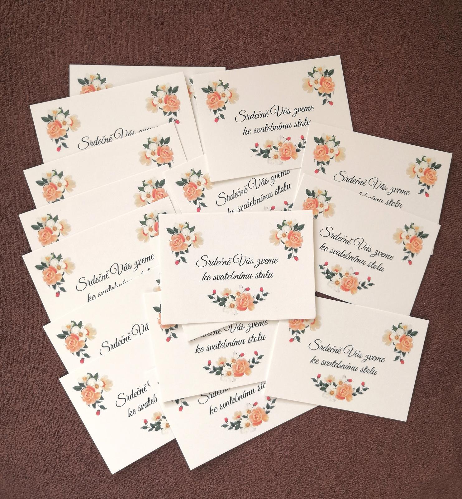 pozvánka ke svatebnímu stolu kartičky  - Obrázek č. 1