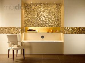 zlatá mozaika + béžová + biela