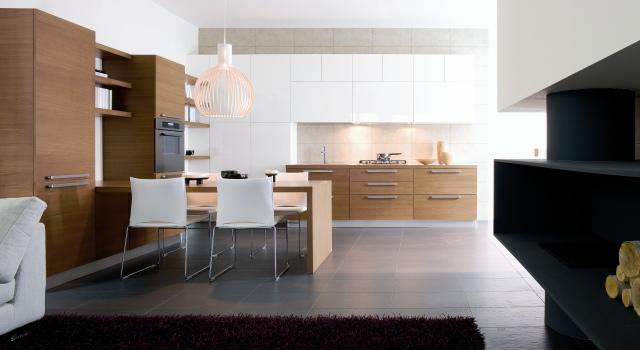 Kuchyňa - Kombinácia biela - drevo (presne takéto), Galan