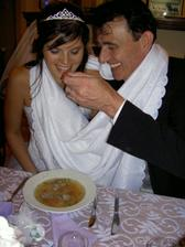 eating from one plate feeding each other - to symbolise how we will take care of each other in the marriage