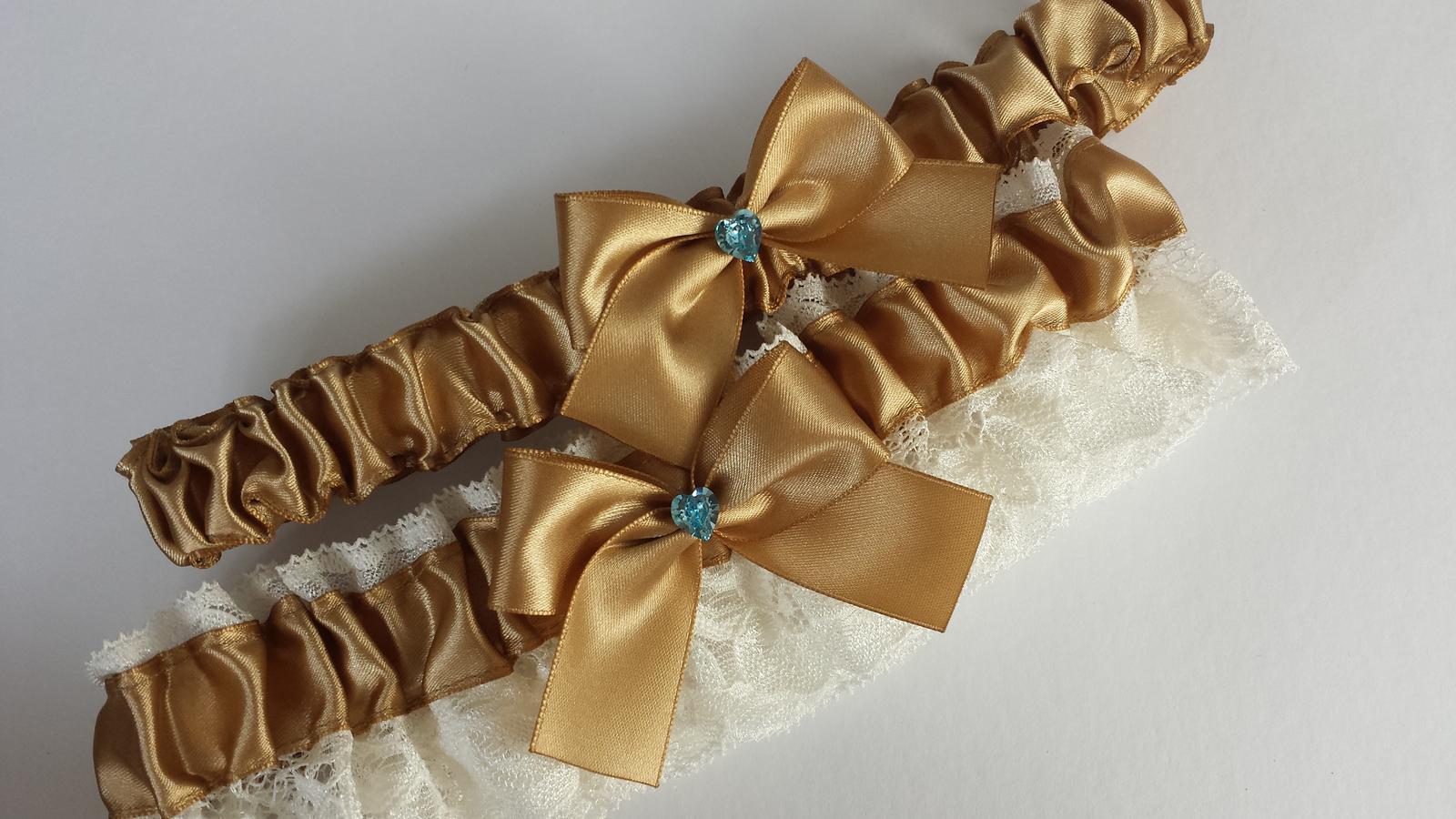 Podvazky + nově sady Swarovski podvazků - Zlatá sada, ivory krajka