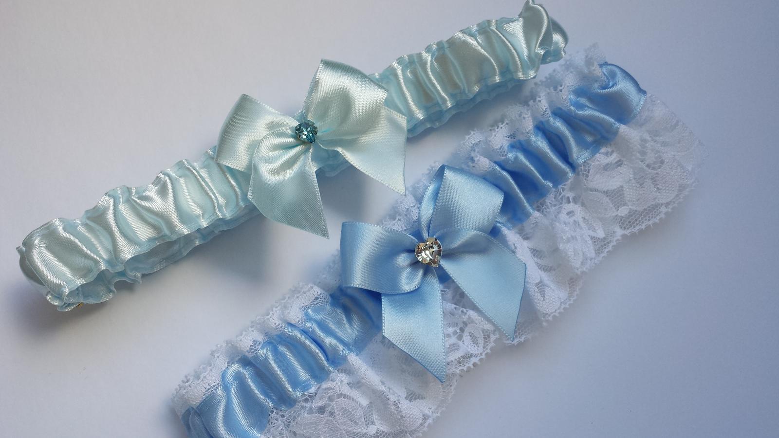 Podvazky + nově sady Swarovski podvazků - Různé odstíny modré