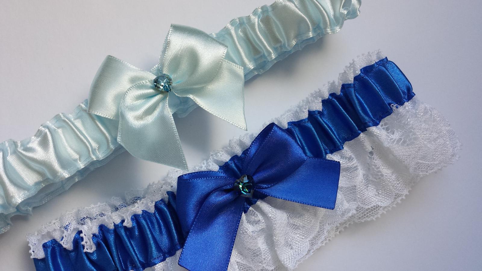 Podvazky + nově sady Swarovski podvazků - Královská modrá