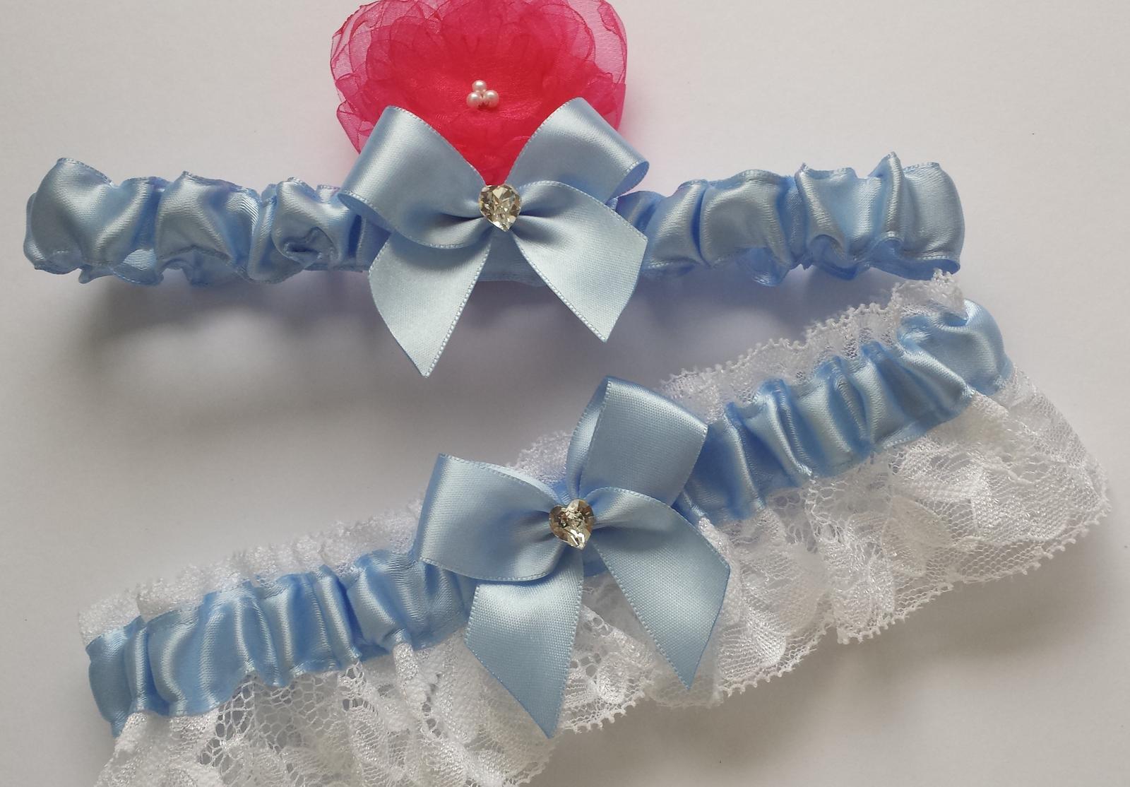 Podvazky + nově sady Swarovski podvazků - Krásná sada modrých vývazků