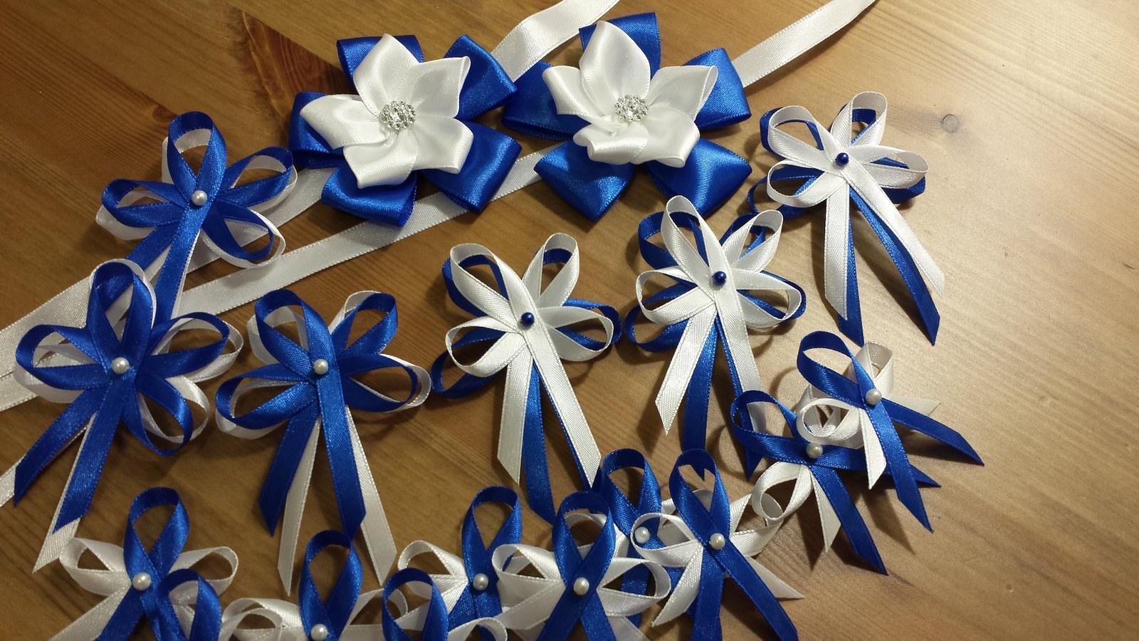 Vývazky - Námořnicky modré vývazky s perličkou